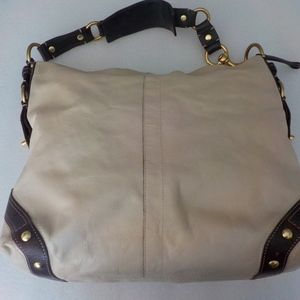 Coach Cream Brown Trim Large Leather Shoulder Bag